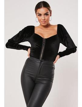 Black Velvet Hook And Eye Milkmaid Bodysuit by Missguided