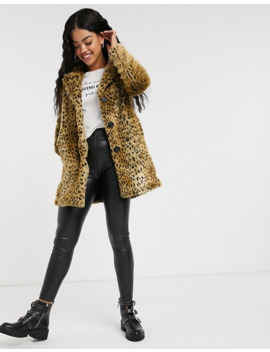 Pimkie Faux Leopard Fur Coat In Brown by Pimkie