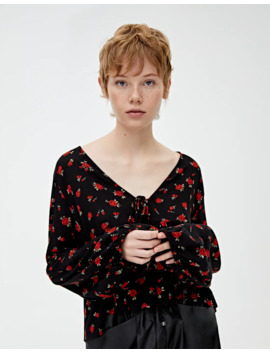 Flowing Floral Print Blouse by Pull & Bear