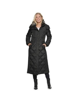 Women's Tower By London Fog Hooded Quilted Puffer Down Maxi Coat by London Fog