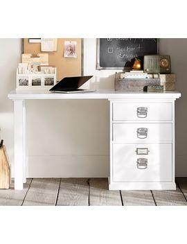 Bedford Small Desk Set, 1 Desktop & 1 3 Drawer File Cabinet, Antique White by Pottery Barn