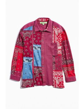 Uo Bandana Panel Button Down Overshirt by Urban Outfitters