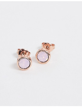 Ted Baker Sinaa Rose Gold Stud Earrings With Pale Pink Swarovski Crystal by Ted Baker