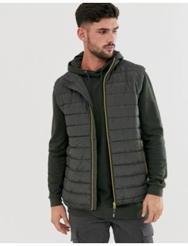 Only &Amp; Sons Puffer Gilet With Stand Collar In Dark Grey by Only & Sons