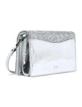 Disco Soirée Mini Tinsel Appliquéd Mirrored Leather Shoulder Bag by Diane Von Furstenberg