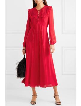 Ruffled Silk Georgette Midi Dress by Miu Miu