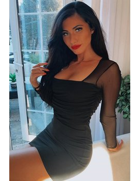 Black Ruched Mesh Bodycon Mini Dress   Elysa by Rebellious Fashion
