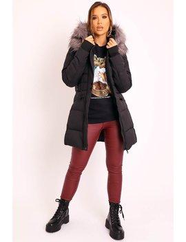 Black Adjustable Waist Longline Puffer Coat   Zofia by Rebellious Fashion