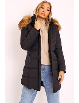 Black Adjustable Back Long Puffer Coat   Maezie by Rebellious Fashion