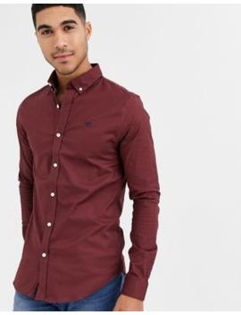 New Look – Vinröd Oxfordskjorta Med Muscle Fit Passform by New Look
