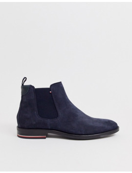 Tommy Hilfiger Chelsea Boots In Navy Suede by Tommy Hilfiger