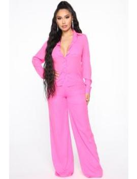 Fashion Forward Pant Set   Hot Pink by Fashion Nova