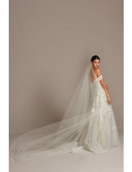 Raw Edge Tulle Cathedral Length Veil by David's Bridal