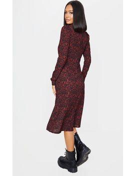 Red Leopard Print Long Sleeve Split Midi Dress by Prettylittlething