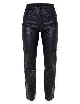 Black Coated Denim Croc Straight Leg Jean by Prettylittlething