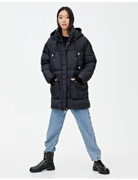 Long Quilted Parka With Hood by Pull & Bear