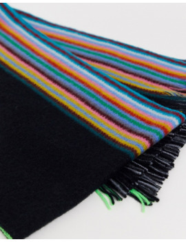 Paul Smith Stripe Wool Scarf In Black by Paul Smith