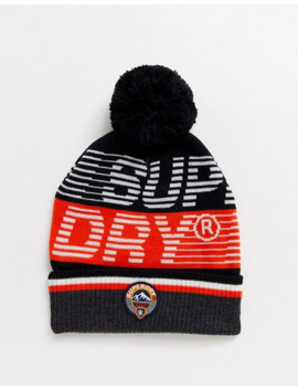 Superdry Downhill Logo Bobble Beanie In Black by Superdry