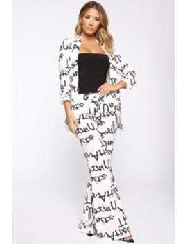 Say Something Blazer Set  White Combo by Fashion Nova