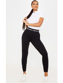 Prettylittlething Black Contrast Piping Cuff Jogger by Prettylittlething