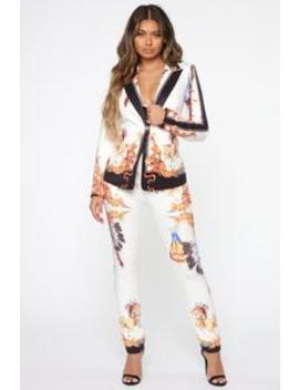 Old Town Babe Blazer Set   White/Combo by Fashion Nova