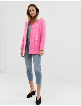 Naf Naf Colourful Coat With Faux Fur Hood In Pink by Asos