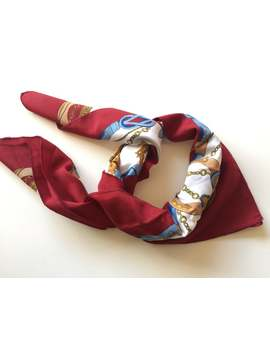 Maroon Red Retro Chain Print Scarf Bandana Hair Tie Accessory by Etsy