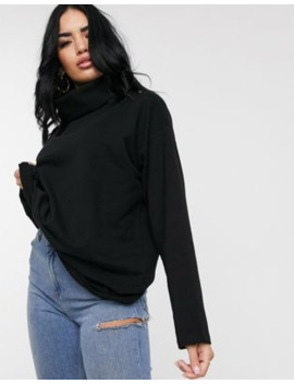 Asos Design High Neck Cosy Oversized Sweat In Black by Asos Design