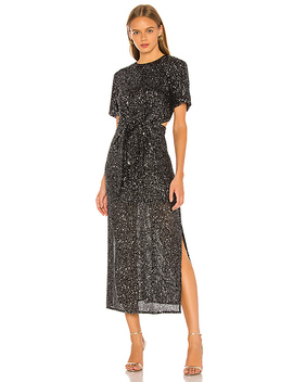 Lustre Midi Dress Im Black Sequin by C/Meo