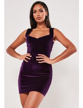 Purple Velvet Sweetheart Neck Mini Dress by Missguided