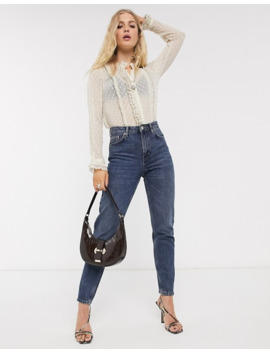 Topshop Sheer Blouse With Frill Edge In Dobby Mesh by Topshop