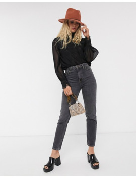 Topshop Blouse With Sheer Sleeves In Black by Topshop
