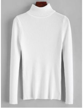 Hot Sale Turtleneck Ribbed Slim Knit Plain Sweater   White by Zaful