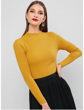 Hot Ribbed Mock Neck Slim Knitted Sweater   Yellow by Zaful