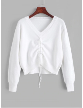Hot Pullover Cinched Front V Neck Sweater   White by Zaful