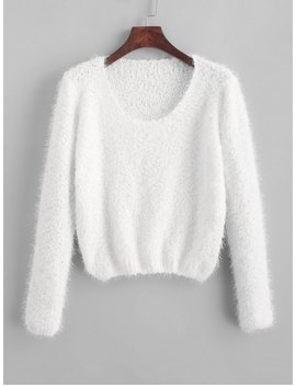 Hot Solid Fuzzy Pullover Sweater   White by Zaful