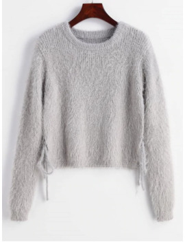 Hot Salezaful Knotted Textured Slit Sweater   Gray Cloud M by Zaful