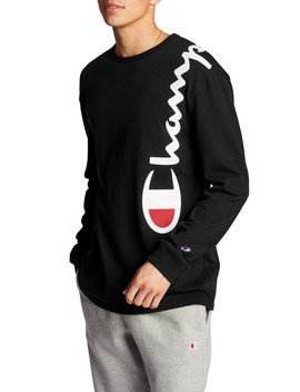 Heritage Over Shoulder Script Long Sleeve T Shirt by Champion