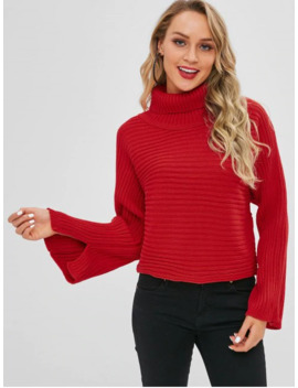 Sale Solid Color Batwing Sleeve Sweater   Red by Zaful