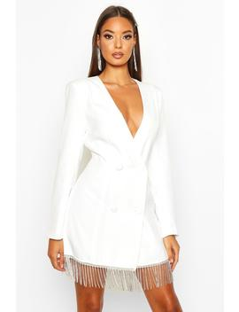 Diamante Fringe Hem Double Breasted Blazer Dress by Boohoo