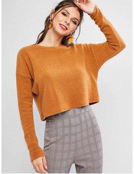 Salezaful Boxy Cropped Sweater   Tiger Orange S by Zaful