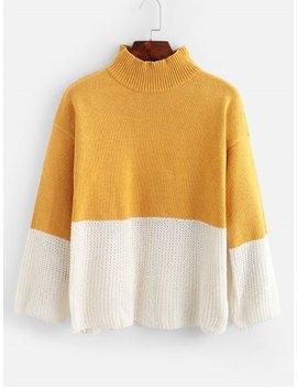 Popular Drop Shoulder Mock Neck Two Tone Sweater   Multi A by Zaful
