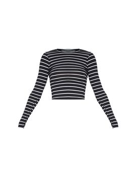 Mono Stripe Jersey Crew Neck Long Sleeve Top by Prettylittlething