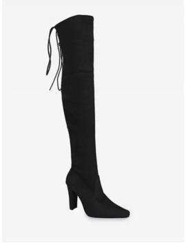 Hot Plain Pointed Toe High Heel Thigh High Boots   Black Eu 37 by Zaful