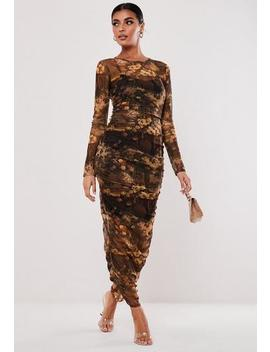 Brown Dark Floral Print Ruched Mesh Maxi Dress by Missguided