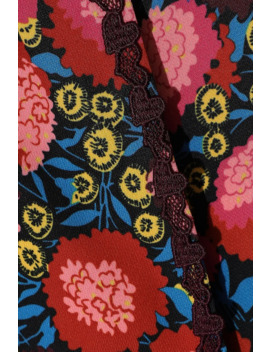 Lace Trimmed Floral Print Cady Kimono by Anna Sui