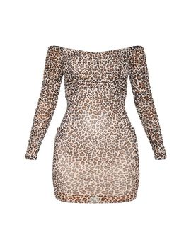 Brown Leopard Print Ruched Mesh Bardot Bodycon Dress by Prettylittlething