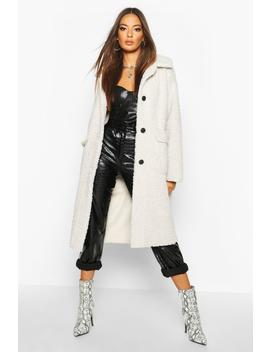 Button Up Faux Fur Bonded Teddy Coat by Boohoo
