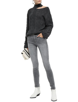 Cutout Cable Knit Cotton Turtleneck Sweater by Rta