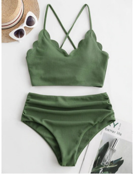 Hot Zaful Ribbed Scalloped Lace Up Tummy Control Tankini Swimsuit   Medium Forest Green S by Zaful